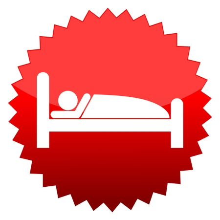 at sign: Red sun sign sleeping sign Illustration