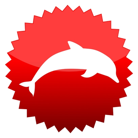 red sun: Red sun sign dolphin