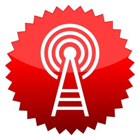 transmitter: Red sun sign transmitter Illustration