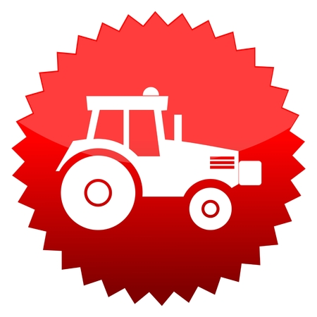 red sun: Red sun sign tractor Illustration