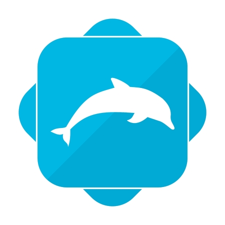 pink dolphin: Blue square icon dolphin Illustration