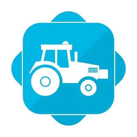 harrow: Blue square icon tractor