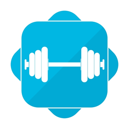 dumbell: Blue square icon barbell