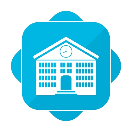 Blue square icon school 向量圖像