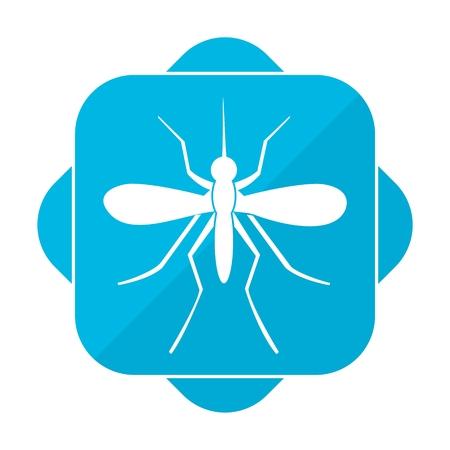 bloodsucking: Blue square icon mosquito Illustration
