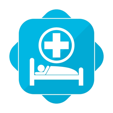 surgery stretcher: Blue square icon hospital bed Illustration