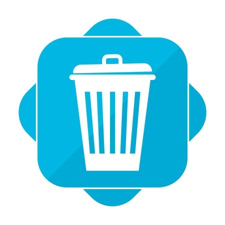 Blue square icon trash Illustration
