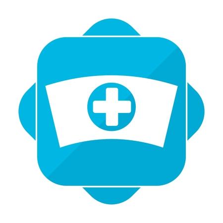 nurse cap: Blue square icon nurse cap