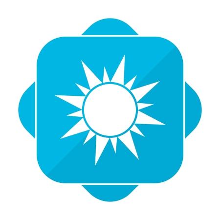 Blue square icon sun Illustration