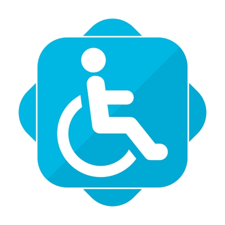 accessibility: Blue square icon Disabled icon sign Accessibility Illustration
