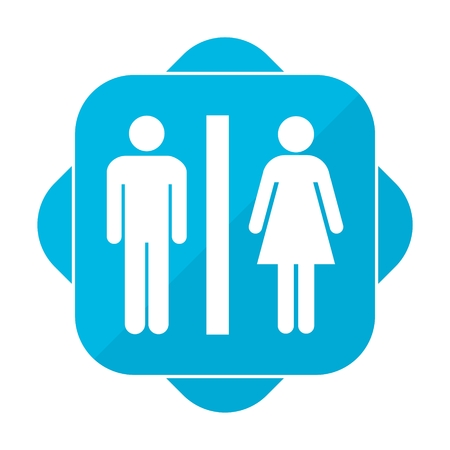 genders: Blue square icon toillete Illustration