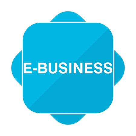 e business: Blue square icon e business