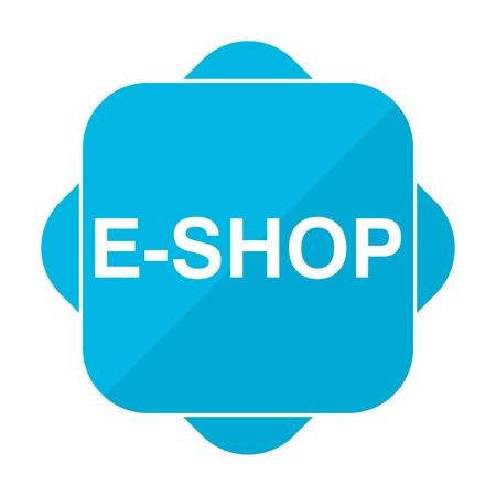 e shop: Blue square icon e shop