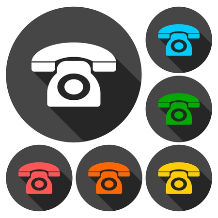 old phone: Old phone icons set with long shadow