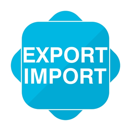 export import: Blue square icon export import