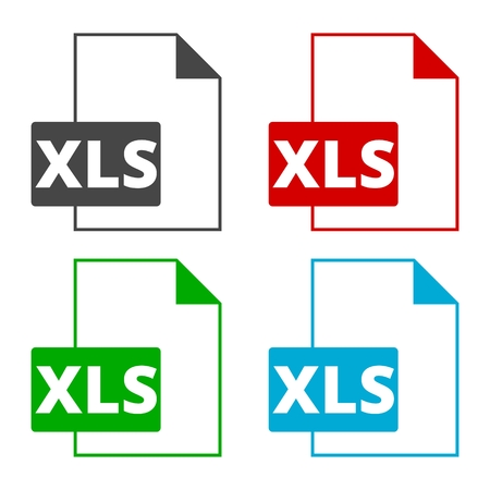 The XLS icon, File format symbol set