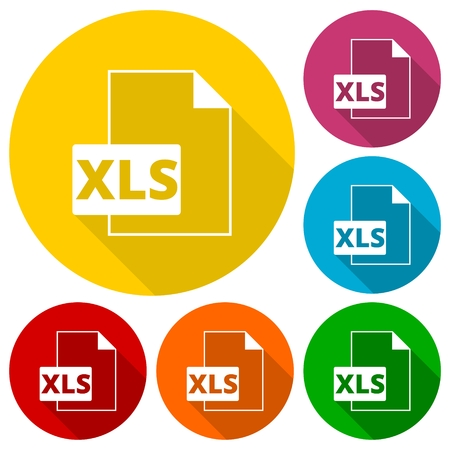 bibliography: The XLS icon, File format symbol set with long shadow Illustration