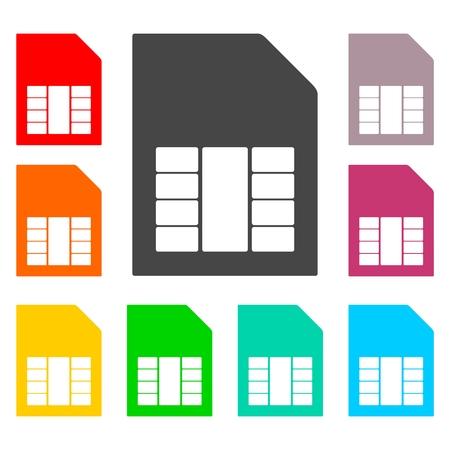 prepaid: Simple SIM card web icons set