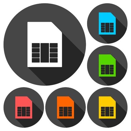 prepaid: Simple SIM card web icons set with long shadow Illustration