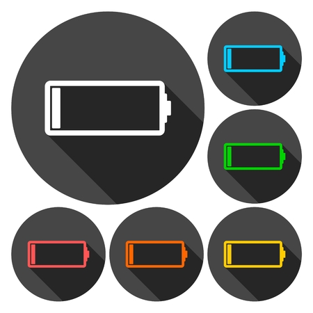 low battery: Low battery icons set with long shadow