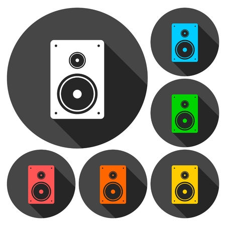 acoustic systems: Speaker Icons set with long shadow