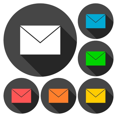 get in touch: Mail Icons set with long shadow