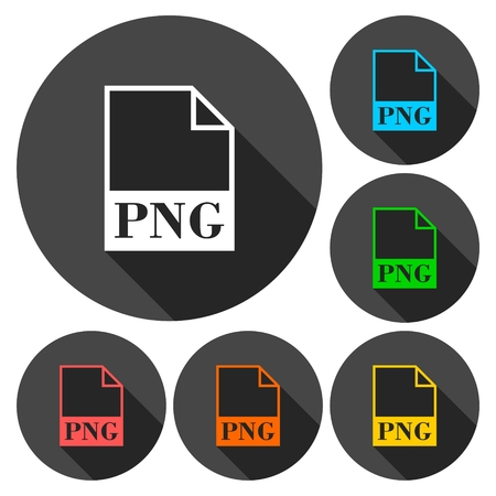 png: PNG file icons set with long shadow