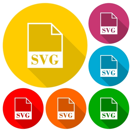 SVG file icons set with long shadow Stock Vector - 56624961