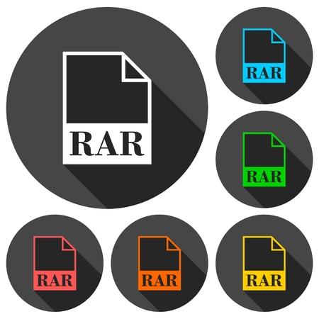 rar: RAR file icons set with long shadow