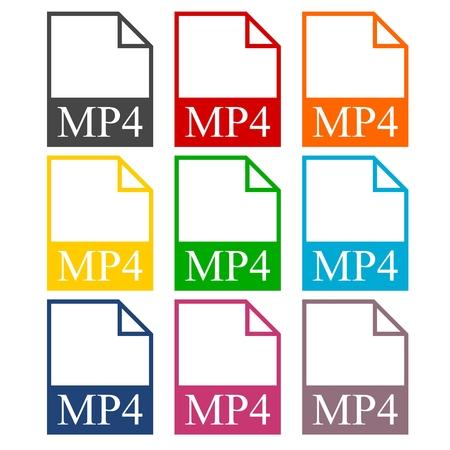 mpg: MP4 file icons set Illustration
