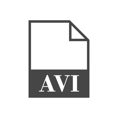 avi: AVI file icon  with long shadow