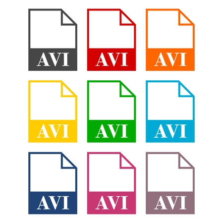 avi: AVI file icons set with long shadow