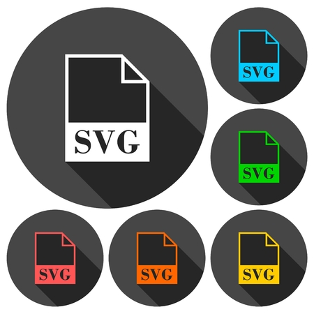 SVG file icons set with long shadow Stock Vector - 56625065