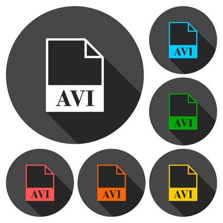avi: AVI file icons set with long shadow