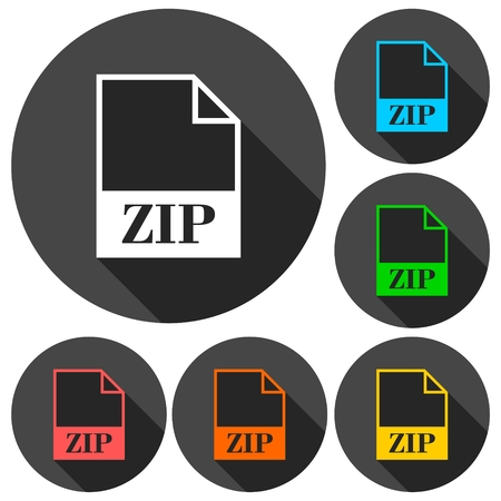 zip: ZIP file icons set with long shadow