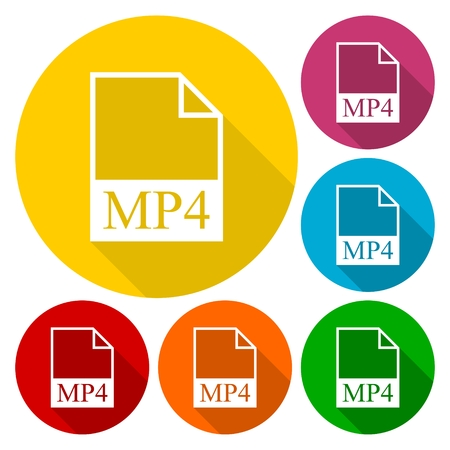 mpg: MP4 file icons set with long shadow