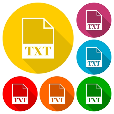 txt: TXT file icons set with long shadow