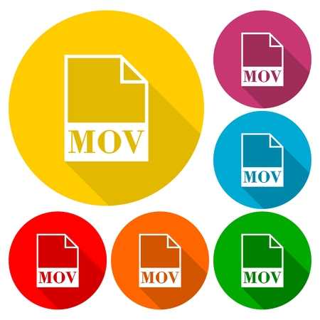mpg: MOV file icons set with long shadow