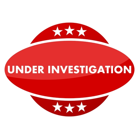 inquest: Red button with stars under investigation Illustration