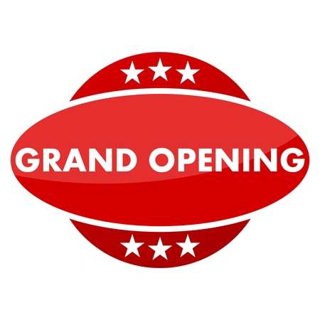 grand sale icon: Red button with stars grand opening Illustration