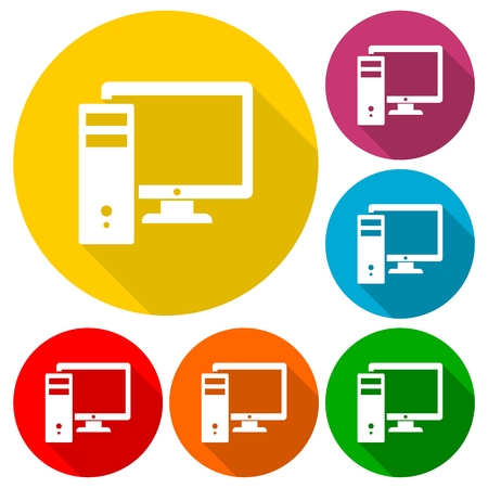 memory stick: Computer icons set with long shadow Illustration