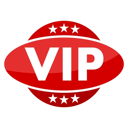 very important person sign: Red button with stars VIP