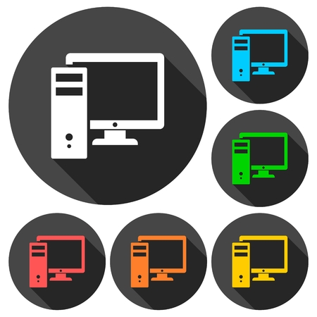 lcd panel: Computer icons set with long shadow Illustration