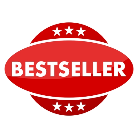 bestseller: Red button with stars bestseller