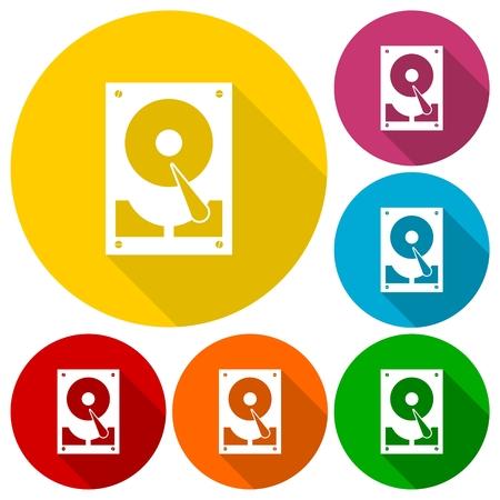 sata: Hard drive icons set with long shadow