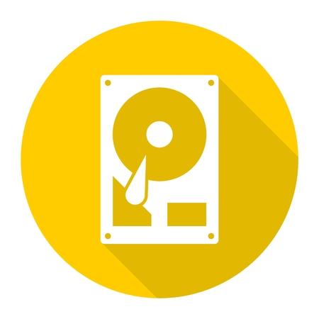 hard drive: Hard drive icon  with long shadow