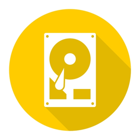 Hard drive icon  with long shadow