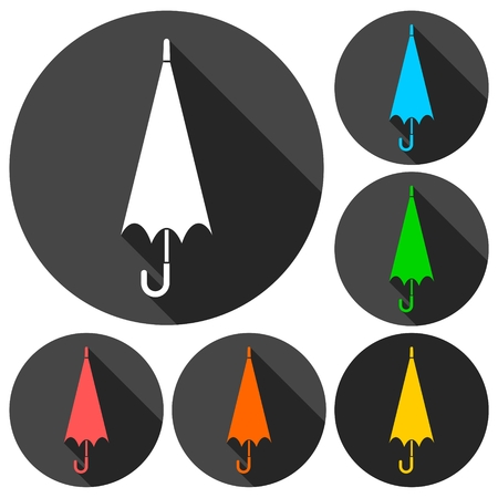 brolly: Umbrella icons set with long shadow Illustration