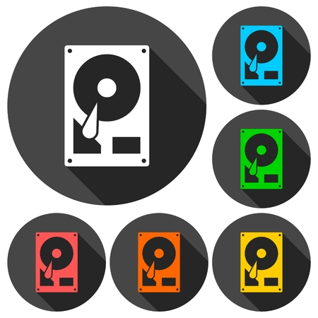 Hard drive icons set with long shadow