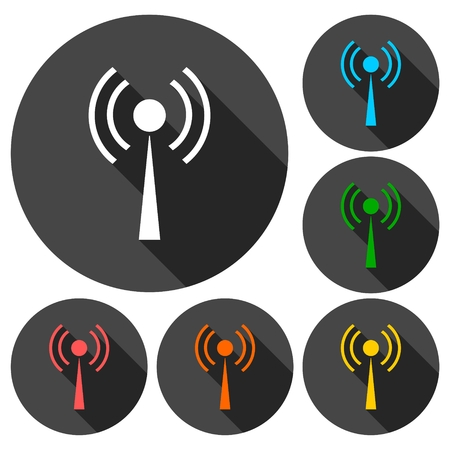 wireless signal: Wi-Fi Icons set with long shadow